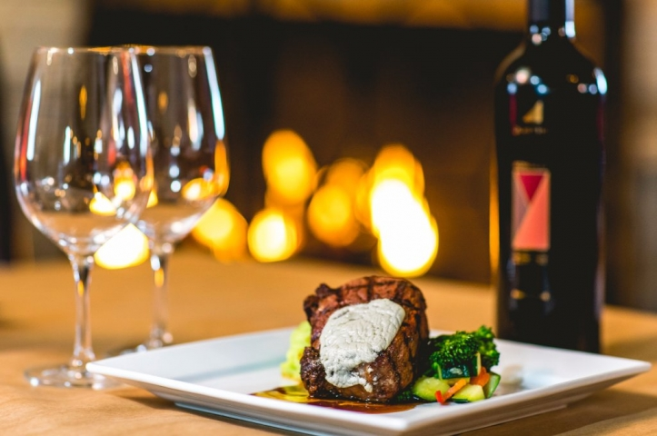 A steak dinner with wine at Morrison's in Mammoth Lakes